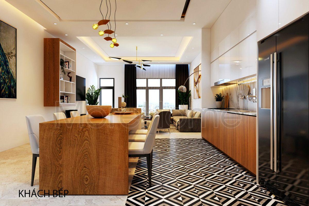 Thiết kế nội thất phòng bếp nhà phố Vincom Rạch Giá Kiên Giang