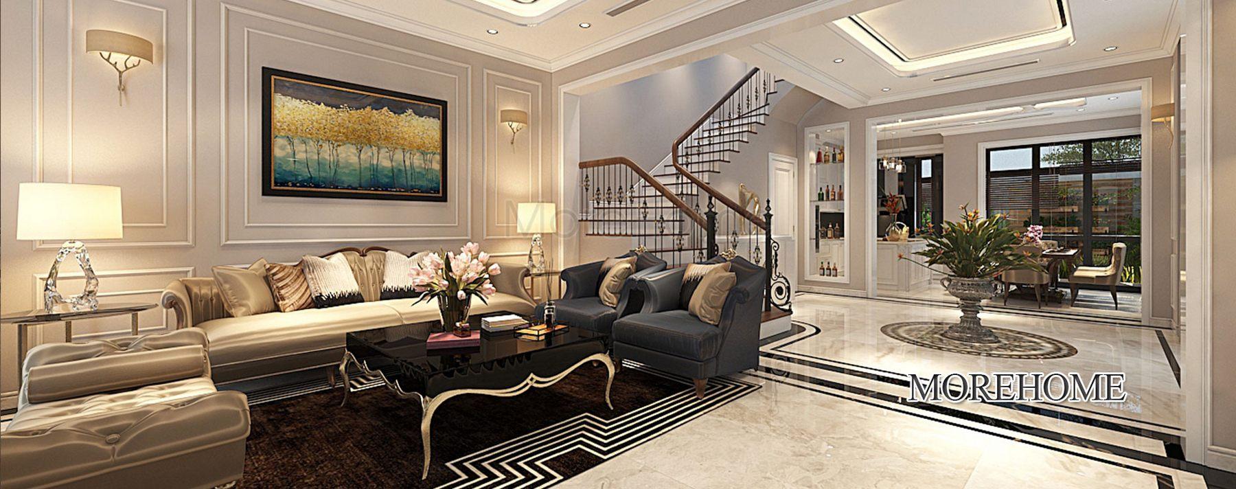 Thiết kế nội thất biệt thự The Harmony Long Biên Hà Nội