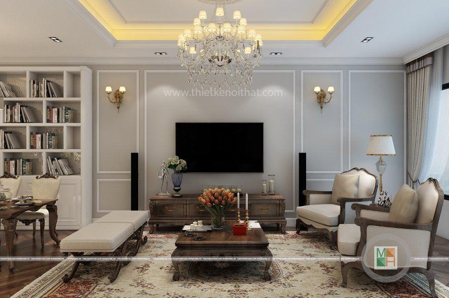 Thiết kế nội thất phòng khách chung cư Sài Gòn Pearl