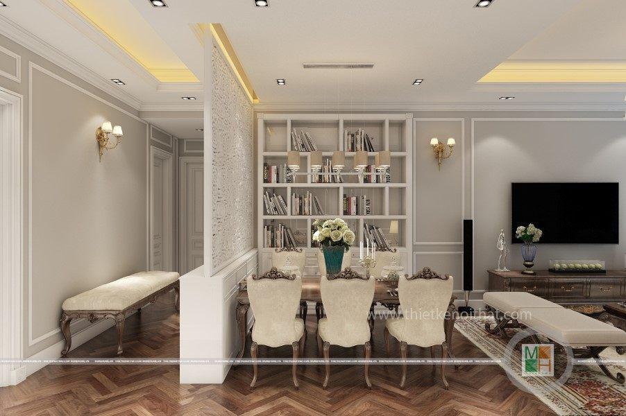 Nội thất khu vực ăn uống tại chung cư Thiết kế nội thất phòng khách chung cư Sài Gòn Pearl