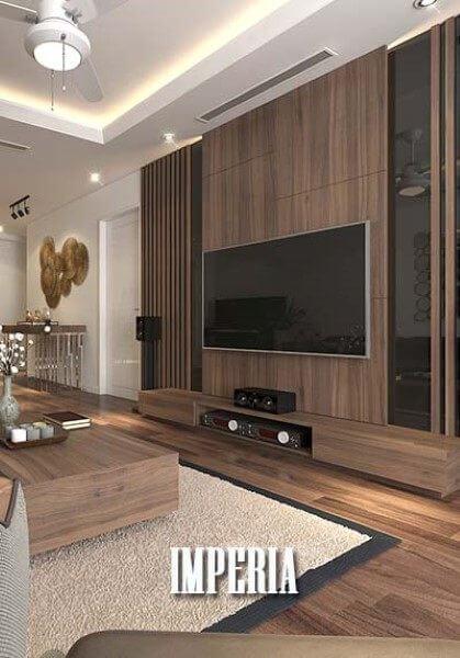Thiết kế nội thất gỗ óc chó chung cư Imperia Garden