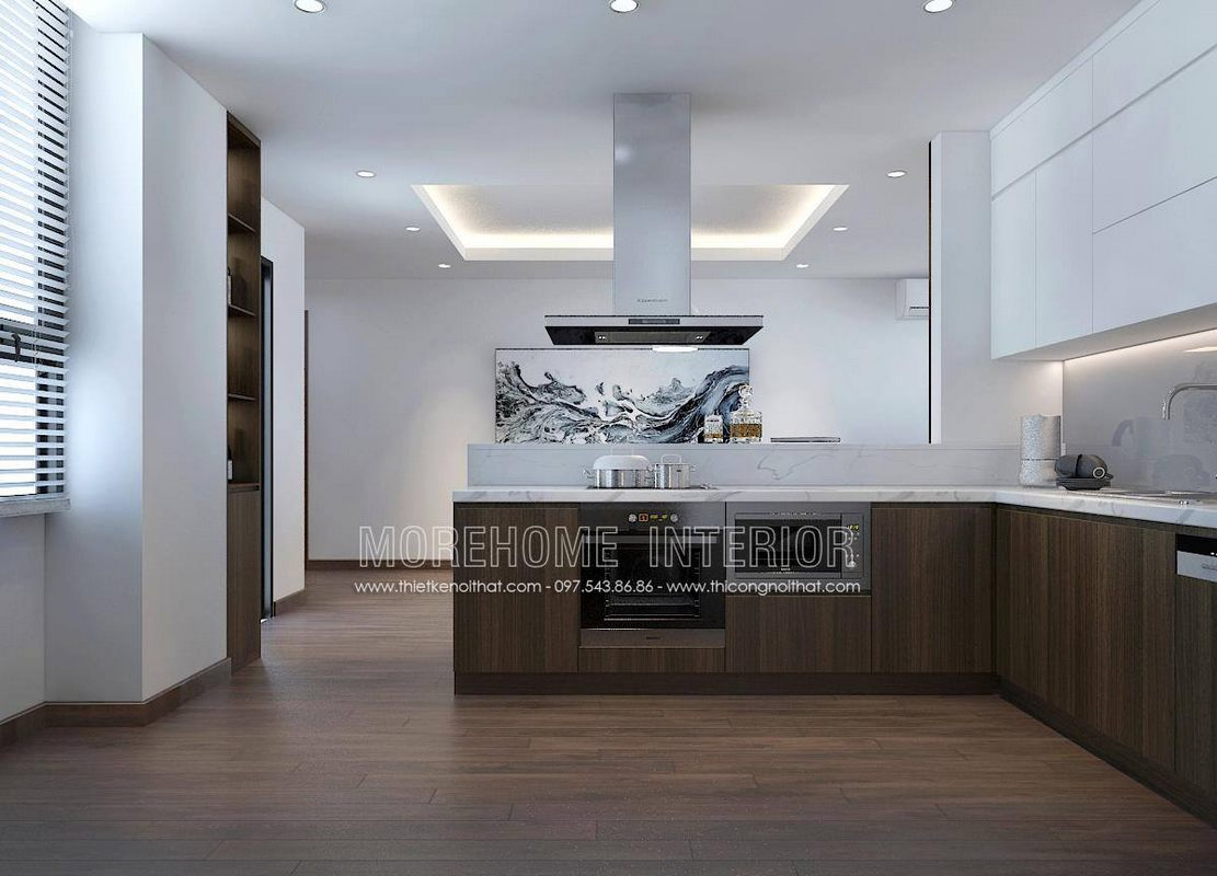 Thiết kế tủ bếp hiện đại cho chung cư ngoại giao đoàn bắc từ liêm hà nội