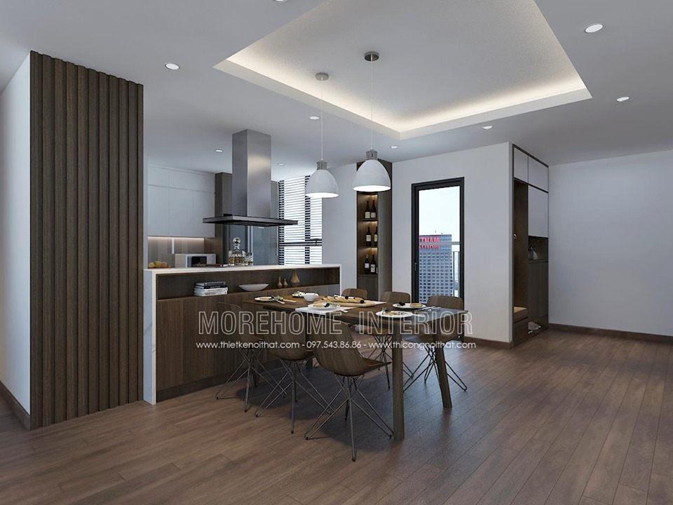 Thiết kế nội thất phòng ăn chung cư ngoại giao đoàn bắc từ liêm hà nội