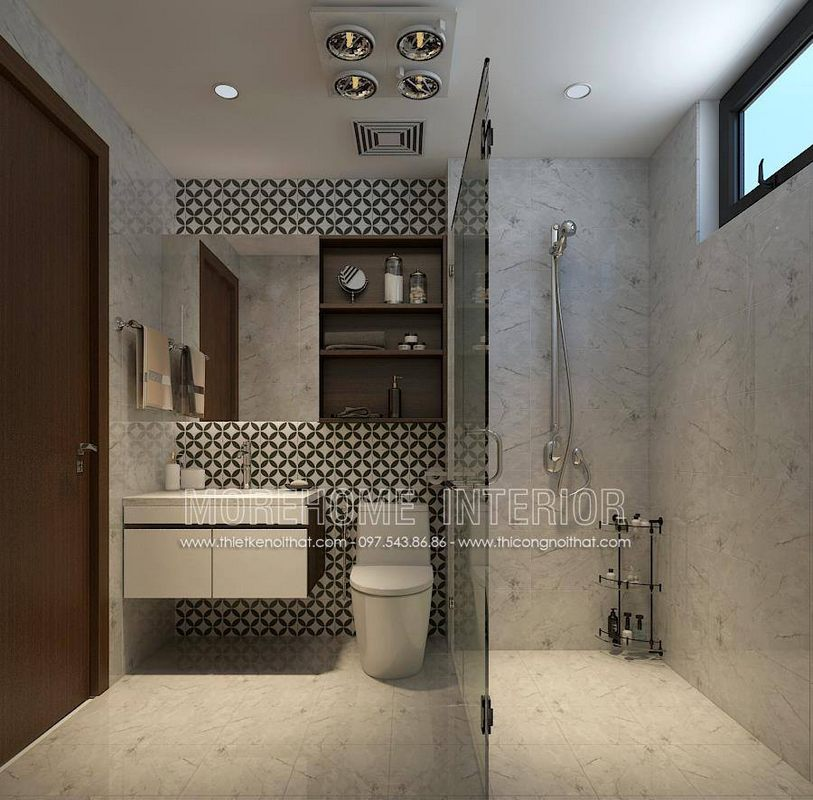 Thiết kế nhà tắm, phòng vệ sinh chung cư ngoại giao đoàn bắc từ liêm hà nội