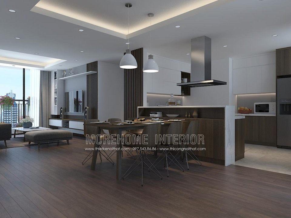 Thiết kế nội thất phòng ăn cho chung cư ngoại giao đoàn bắc từ liêm hà nội