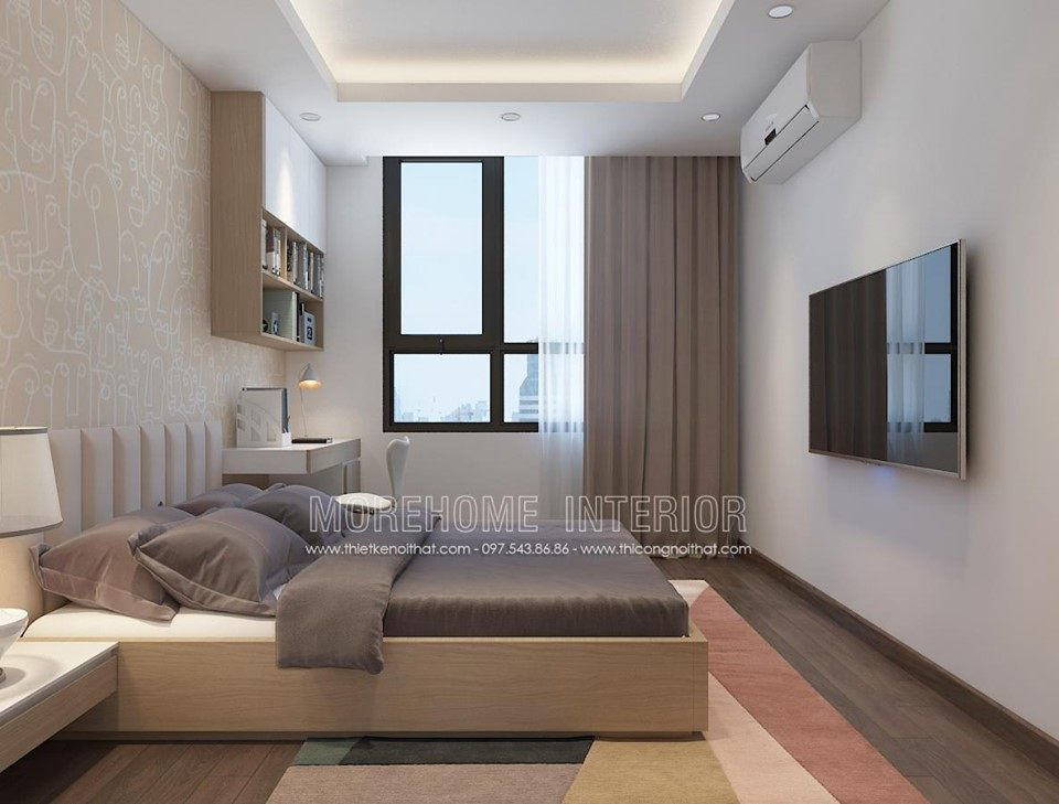 Thiết kế nội thất phòng ngủ chung cư ngoại giao đoàn bắc từ liêm hà nội