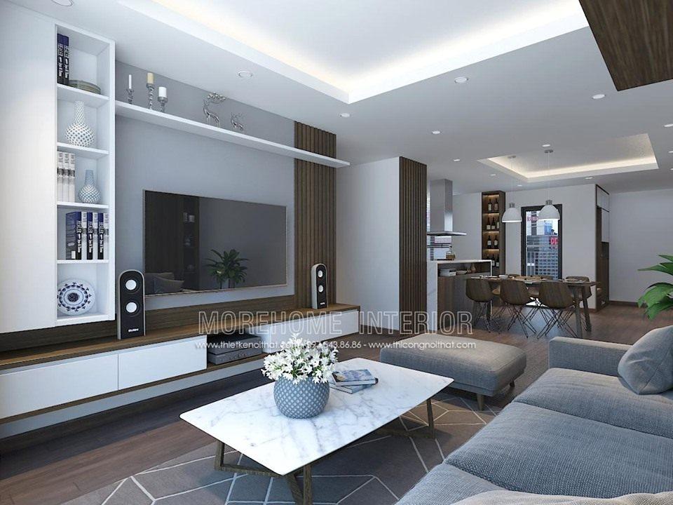 Thiết kế nội thất phòng khách chung cư ngoại giao đoàn bắc từ liêm hà nội