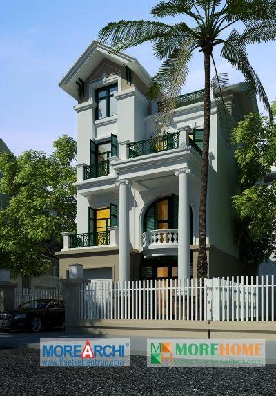 Thiết kế kiến trúc và nội thất biệt thự tân cổ điển mái thái tại Mỹ Đình