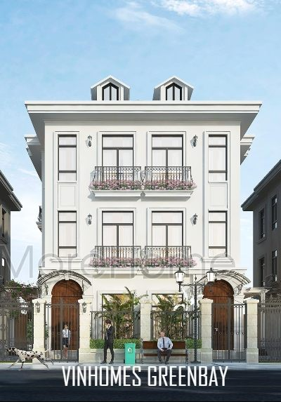 Thiết kế kiến trúc và nội thất biệt thự gỗ óc chó tân cổ điển Vinhomes GreenBay
