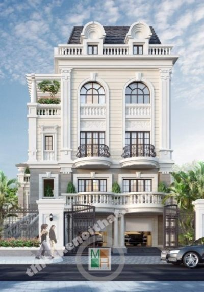 Thiết kế kiến trúc biệt thự cao cấp tại nghệ an phong cách tân cổ điển đẹp