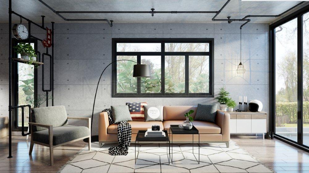 Thiết kế nội thất phòng khách nhà container