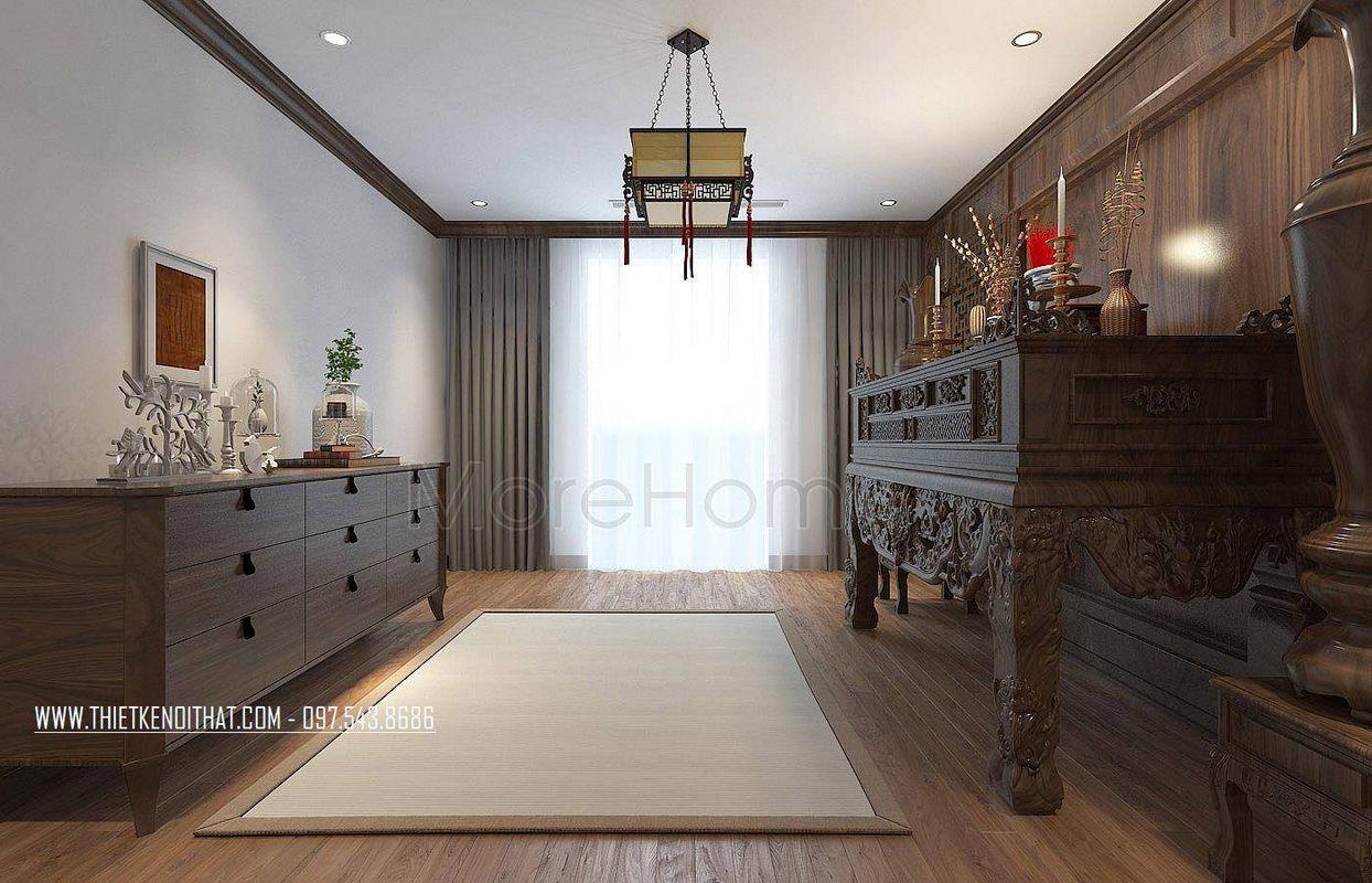 Thiết kế nội thất phòng thờ nhà lô phố maison du park phạm văn đồng