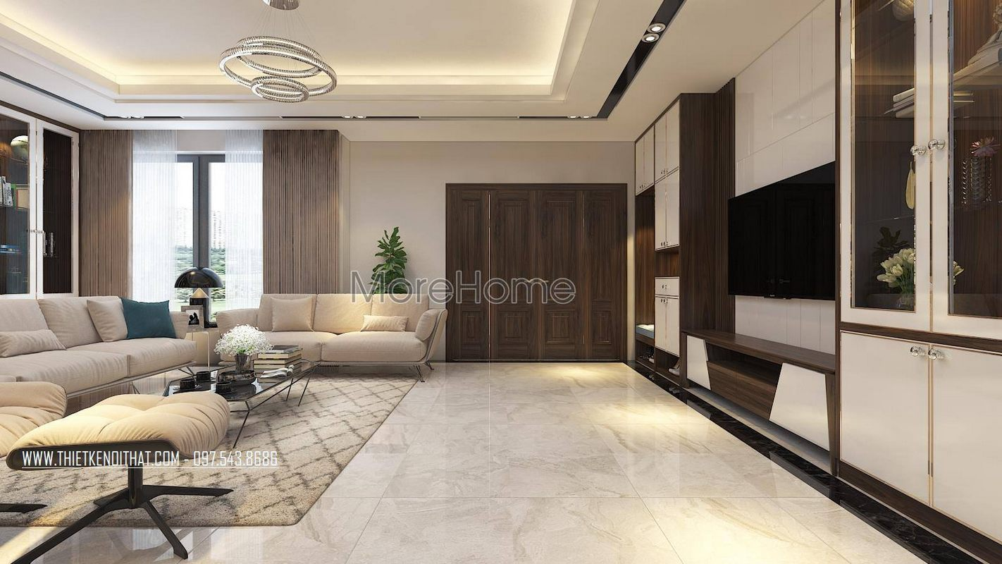 Thiết kế nội thất phòng khách nhà lô phố maison du park phạm văn đồng