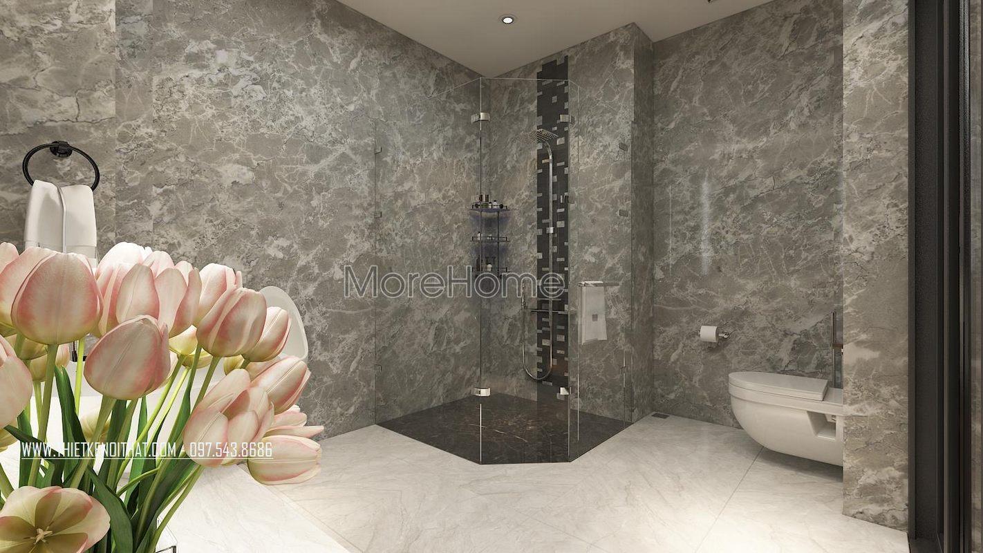 Thiết kế nhà tắm phòng vệ sinh nhà lô phố maison du park phạm văn đồng
