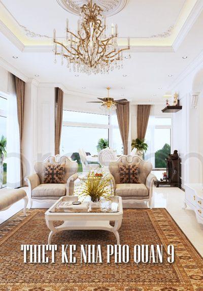 Thiết kế nội thất nhà phố quận 9 phong cách tân cổ điển Pháp