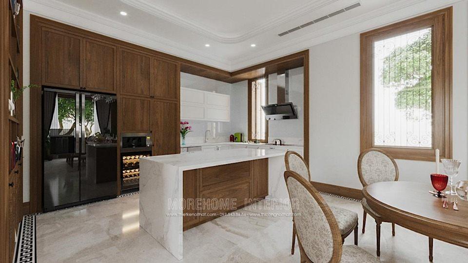 Thiết kế nội thất phòng bếp biệt thự Splendora bắc an khánh hoài đức hà nội