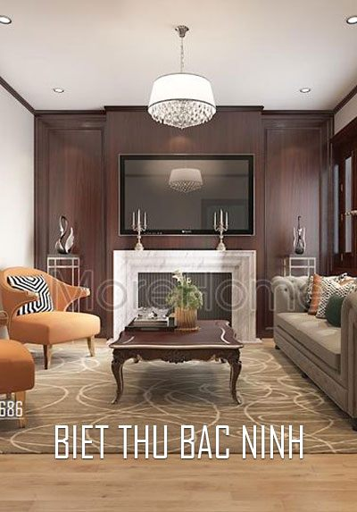 Thiết kế nội thất biệt thự tân cổ điển nhẹ nhàng và hiện đại tại Bắc Ninh