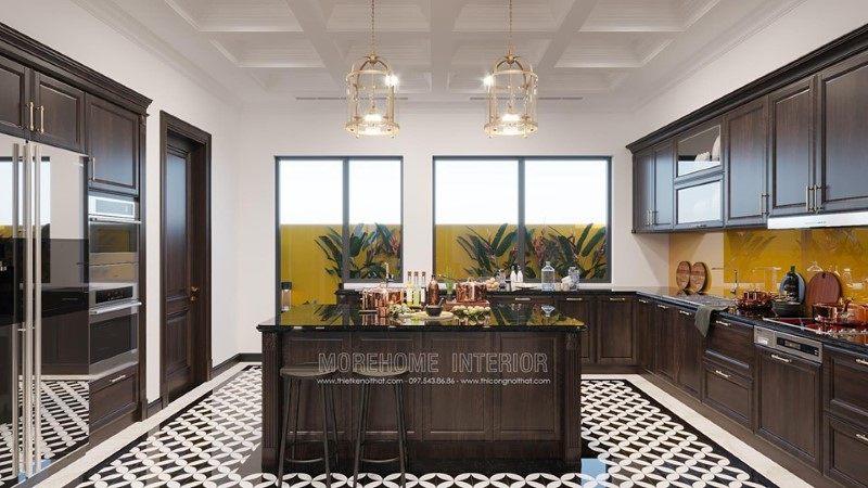 Thiết kế phòng bếp biệt thự Gamuda Hoàng Mai Hà Nội
