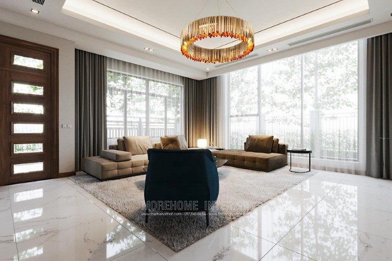 Thiết kế nội thất phòng khách biệt thự hải dương phong cách hiện đại