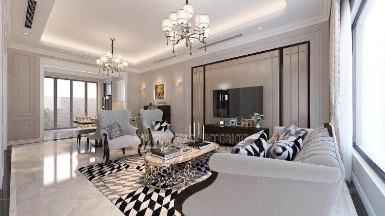 Thiết kế nội thất phòng khách biệt thự Imperia Garden
