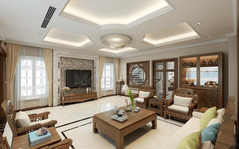 Thiết kế nội thất phòng khách biệt thự Riverside Nguyễn Duy Trinh