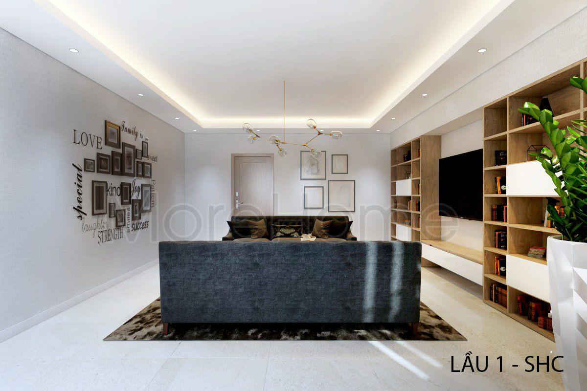 Thiết kế nội thất phòng khách nhà phố Vincom Rạch Giá Kiên Giang