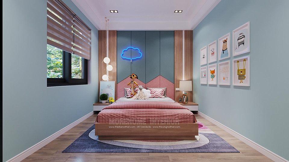 Thiết kế nội thất phòng ngủ bé gái biệt thự tây hồ tây hà nội