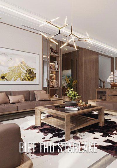Thiết kế nội thất biệt thự gỗ óc chó đẹp tại Starlake