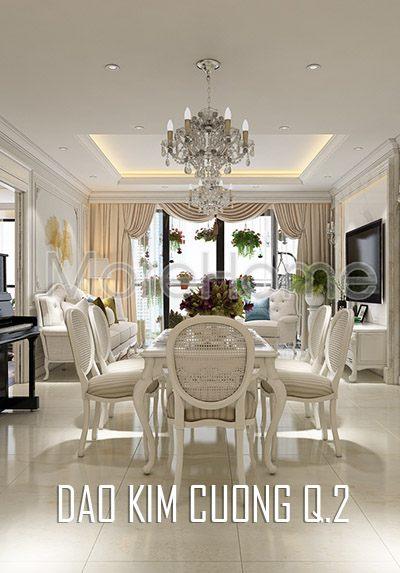 Thiết kế nội thất căn hộ phong cách tân cổ điển Đảo Kim Cương Quận 2