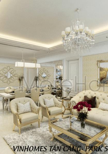 Thiết kế nội thất căn hộ Vinhomes 2 phòng ngủ  - phong cách Tân Cổ Điển