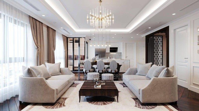 Thiết kế nội thất phòng khách chung cư emerald mỹ đình nam từ liêm hà nội
