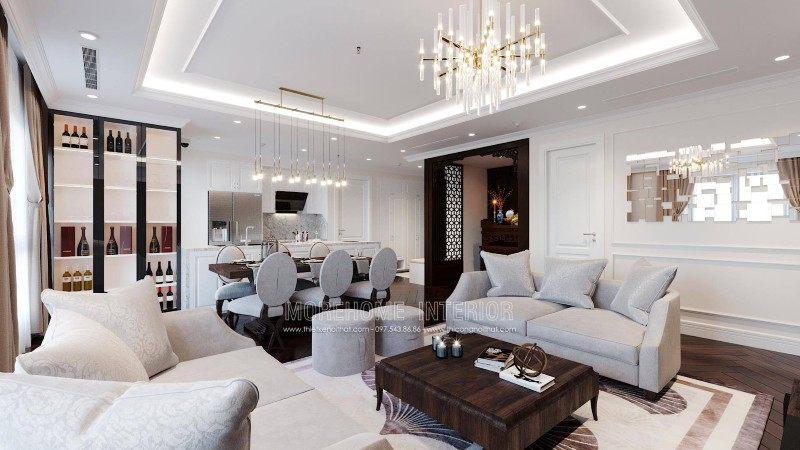 Thiết kế nội thất phòng khách tân cổ điển chung cư emerald mỹ đình nam từ liêm hà nội