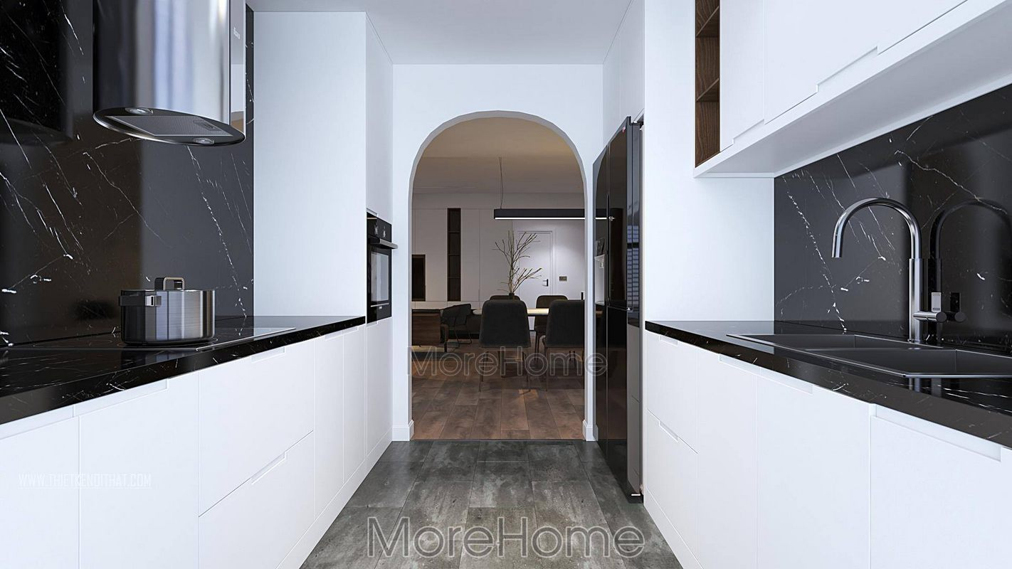 Thiết kế nội thất phòng bếp chung cư green bay nam từ liêm hà nội