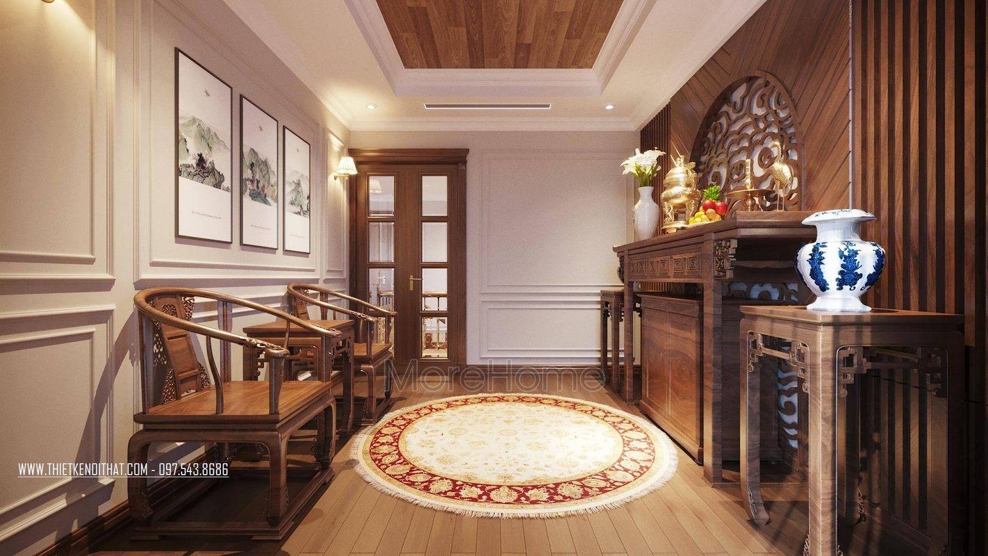 Thiết kế phòng thờ căn hộ duplex thanh xuân hà nội