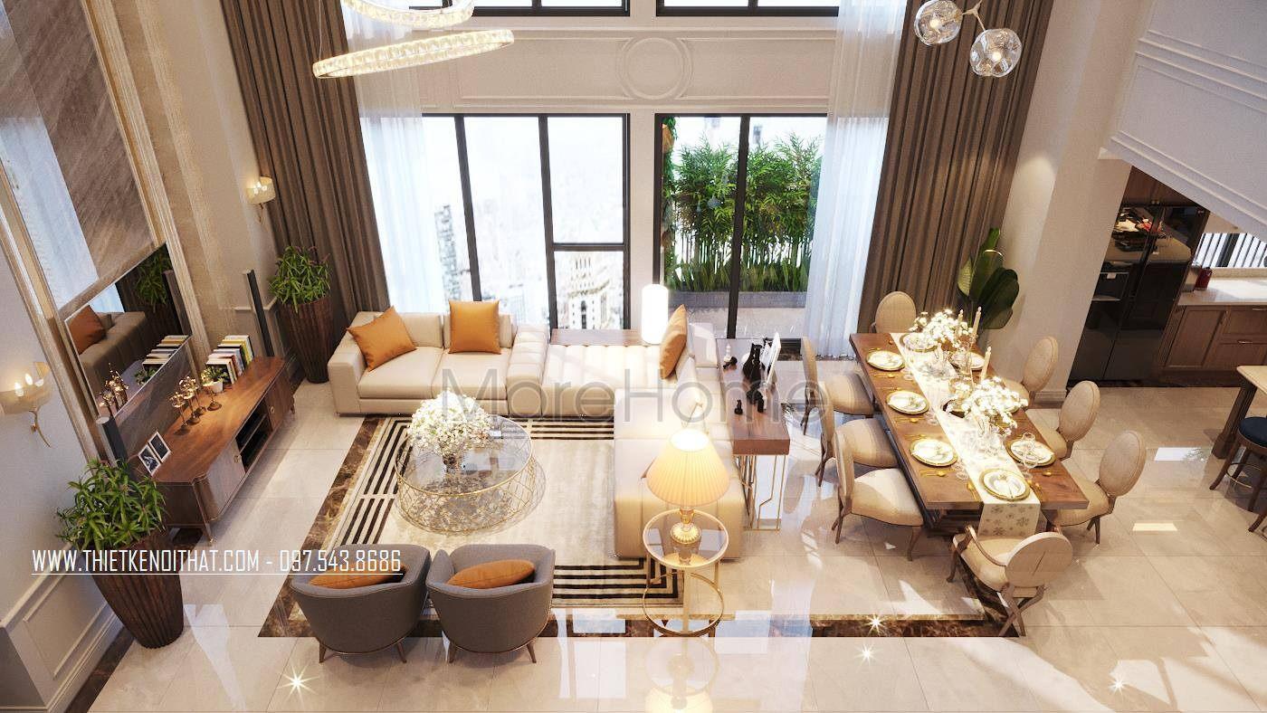 Thiết kế nội thất phòng khách căn hộ duplex thanh xuân hà nội