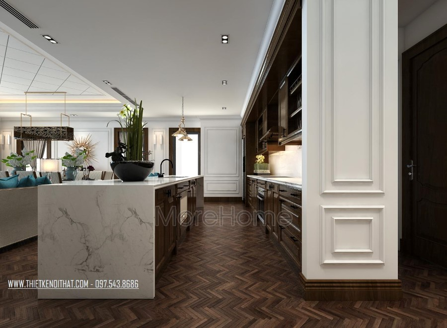 Thiết kế nội thất gỗ óc chó hiện đại