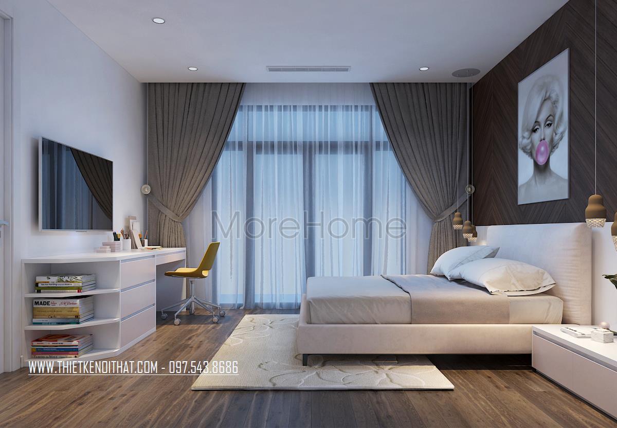 Thiết kế nội thất phòng ngủ nhỏ nhà liền kề Đại Kim