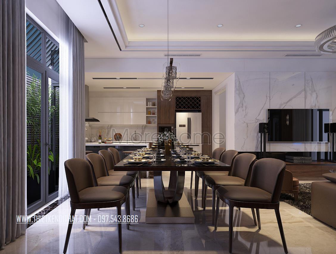 Thiết kế nội thất phòng ăn nhà liền kề Đại Kim