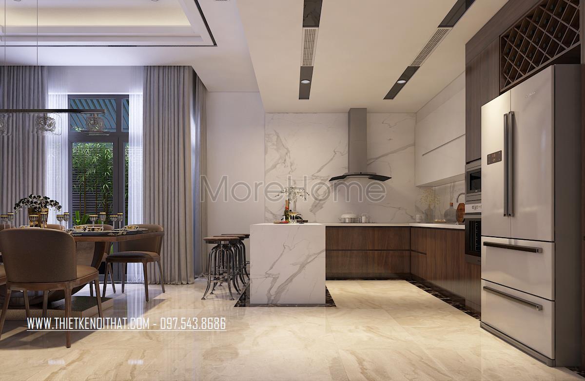 Thiết kế nội thất phòng bếp nhà liền kề Đại Kim