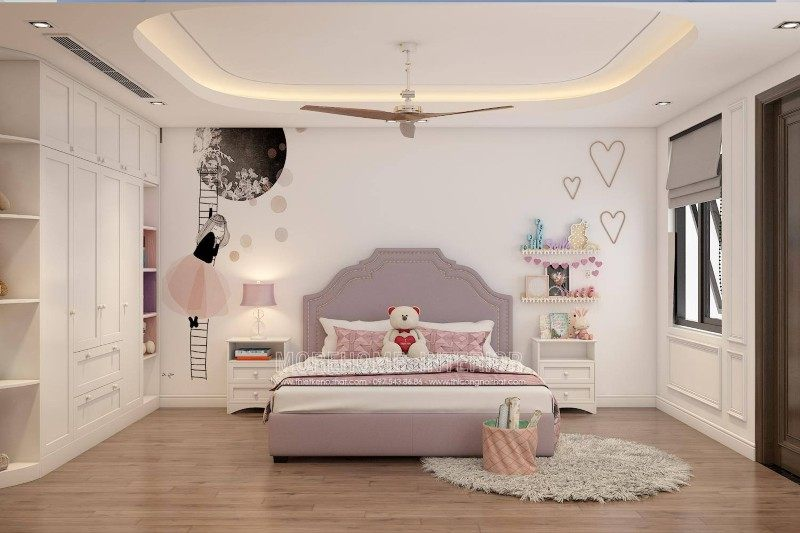 Thiết kế phòng ngủ bé gái cho nhà lô tại hồng bàng hải phòng