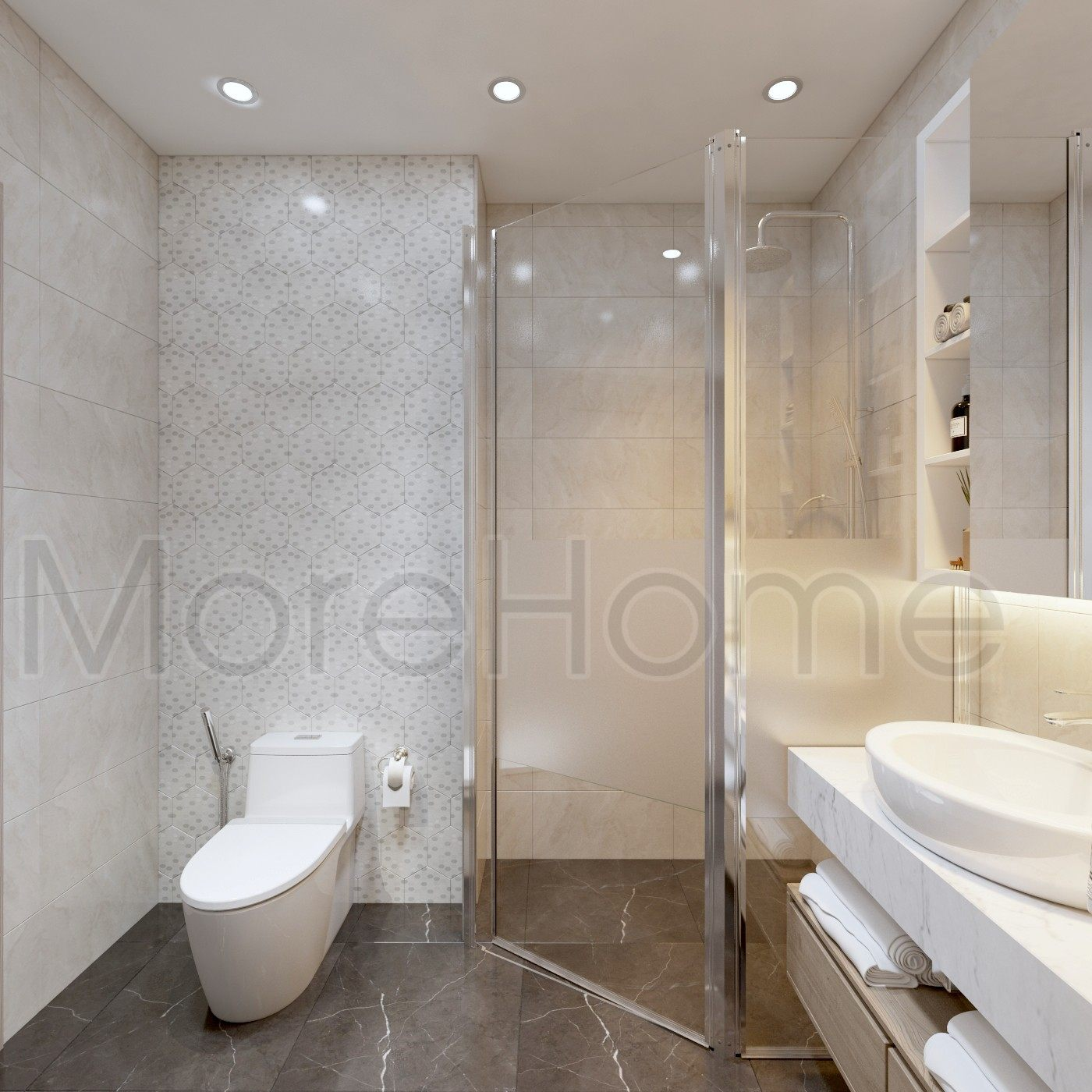 Thiết kế nội thất phòng tắm nhà phố Vạn Phúc Thủ Đức