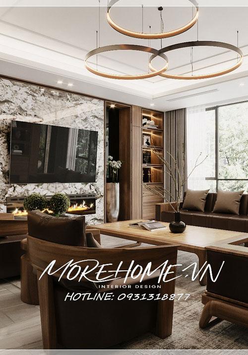 Thiết kế nội thất nhà phố 4 tầng tại Hà Nội ấn tượng với gỗ óc chó cao cấp