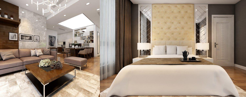 Mẫu thiết kế nội thất căn hộ Times City Park Hill 2 phòng ngủ - Anh Hợp