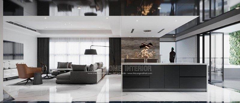 Thiết kế nội thất phòng khách penthouse ecopark hưng yên