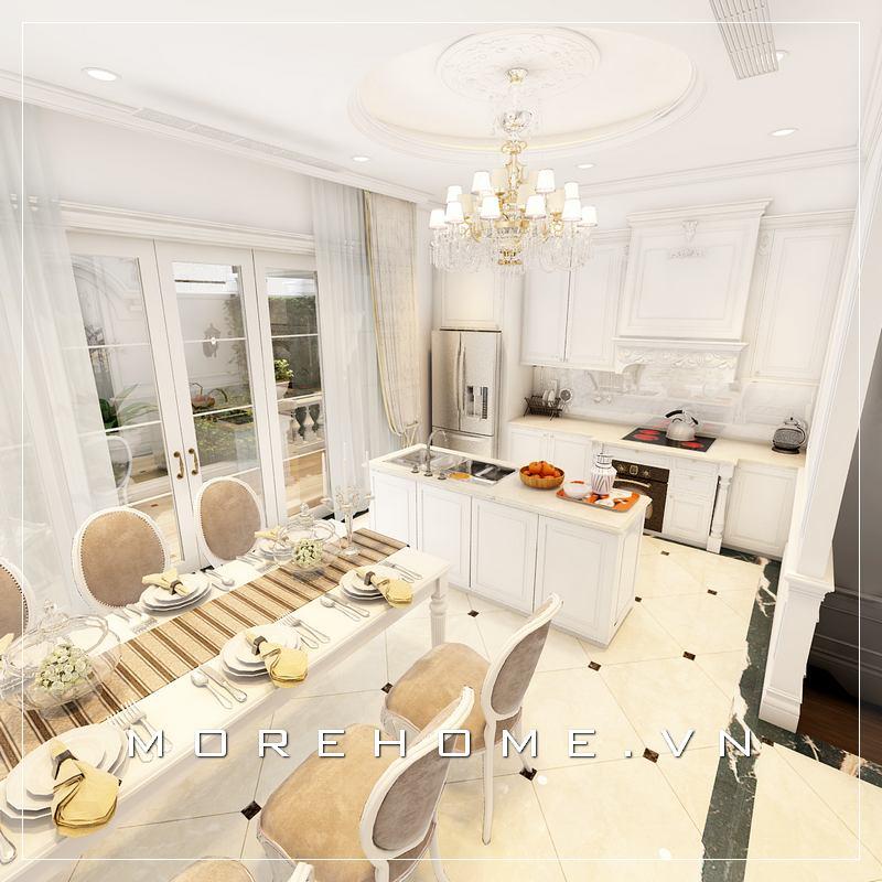 Thiết kế nội thất phòng bếp kèm bàn ăn