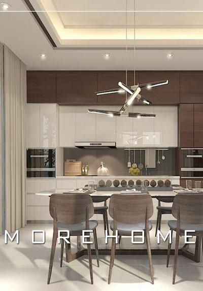 Thiết kế nội thất phòng ăn cạnh bếp hiện đại - tân cổ điển đẹp, sang trọng