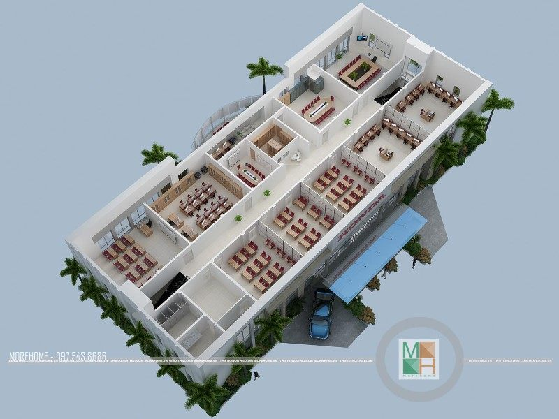 Thiết kế văn phòng trung tâm sát hạch lái xe công ty Honda Việt Nam.