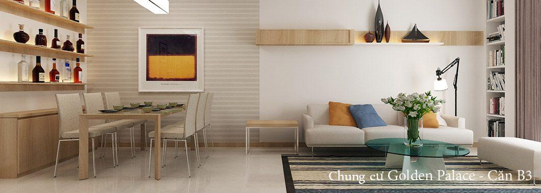 Thiết kế nội thất phòng khách chung cư cao cấp Golden Palace căn hộ mẫu B3 Nam Từ Liêm Hà Nội