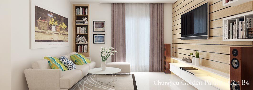 Thiết kế nội thất phòng khách chung cư Golden Palace Mai Linh - căn B4Nam Từ Liêm Hà Nội