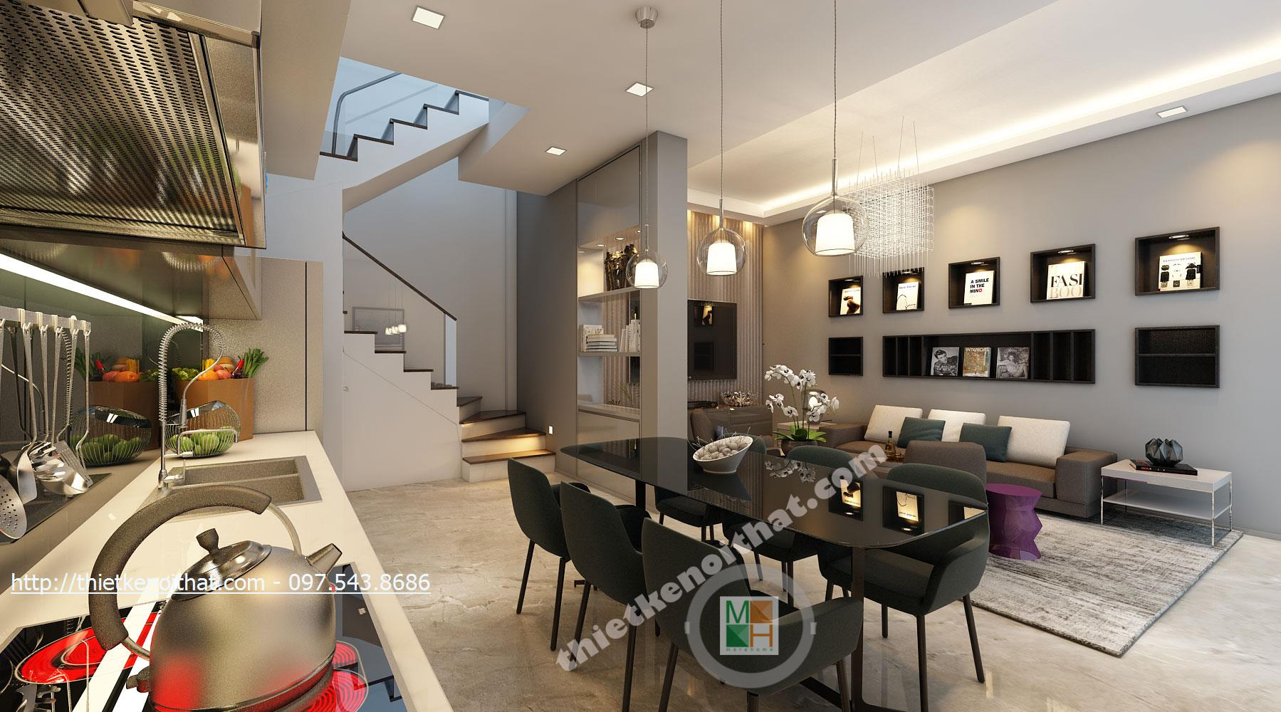 Thiết kế nội thất nhà phố hiện đại, đẹp, trẻ trung- Nhà chị Chi